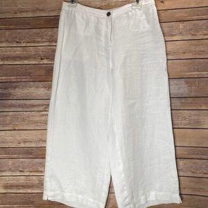 Eileen Fisher petite white linen crop pant-sz 6 P
